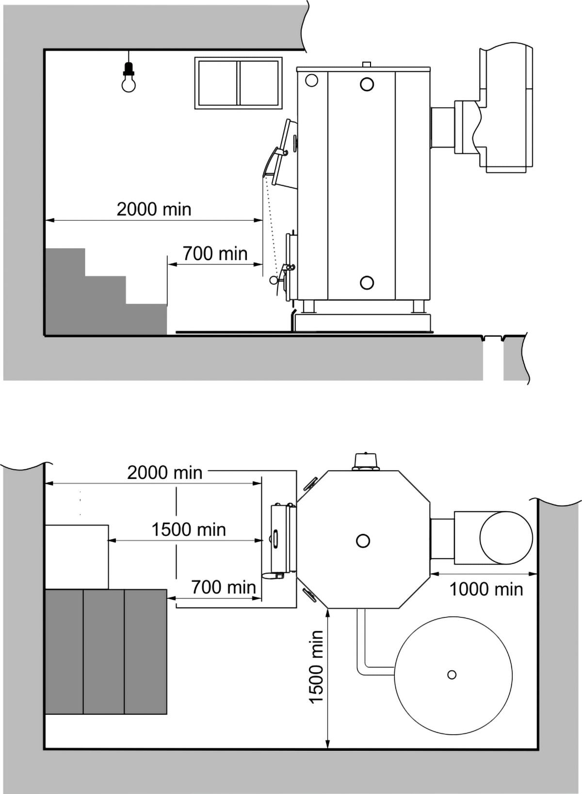 Схема монтажа твердотопливного котла Казак